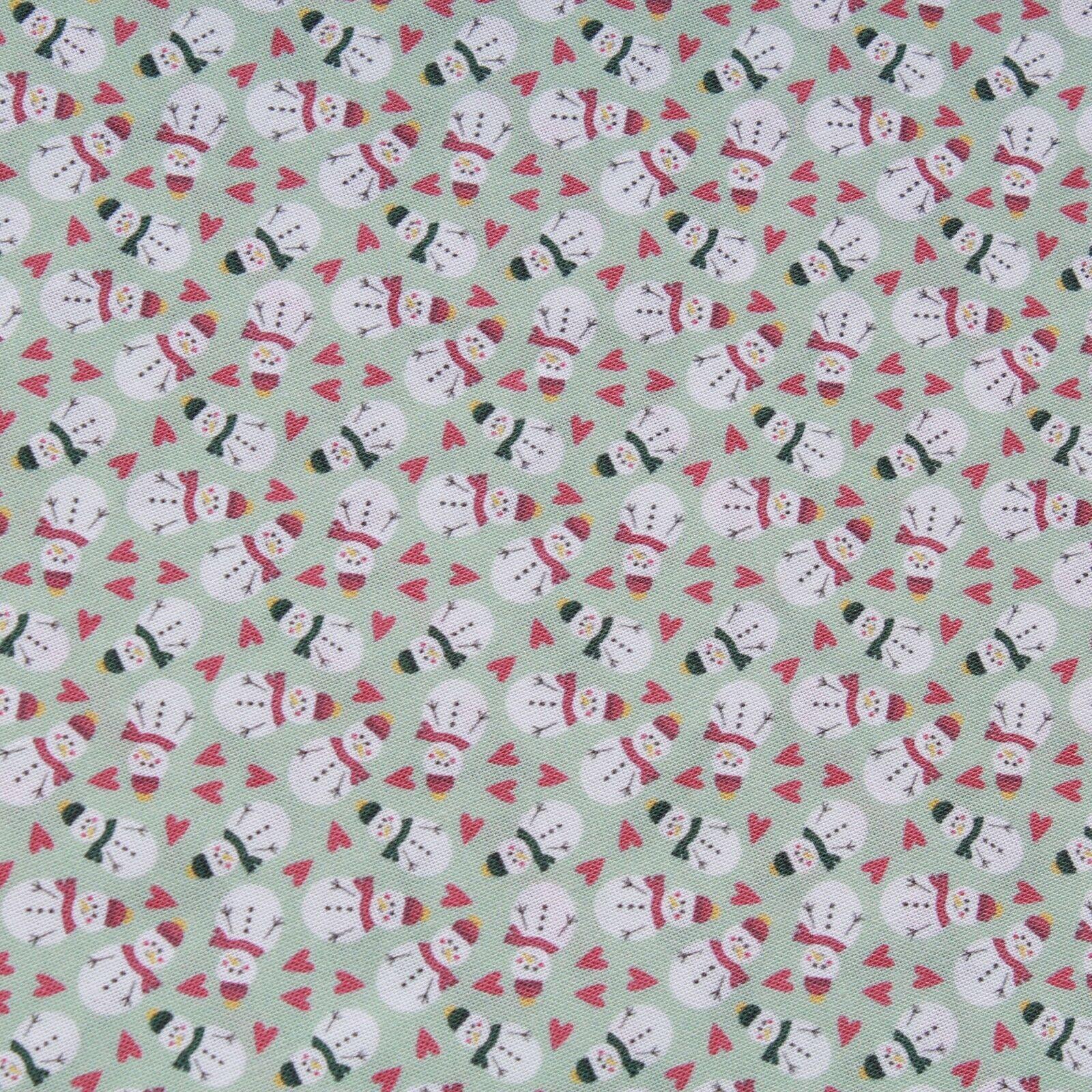 Green Snowman Retro Christmas Fabric Freedom Thimbles Fabrics