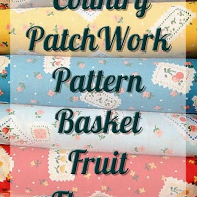 Country PatchWork Pattern basket fruit flowers