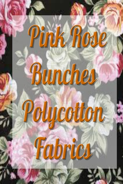 Polycotton Fabric Pink Rose Bunches Floral Flowers