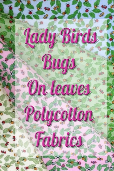 Lady Birds Bugs on Leaves Poly Cotton Fabric