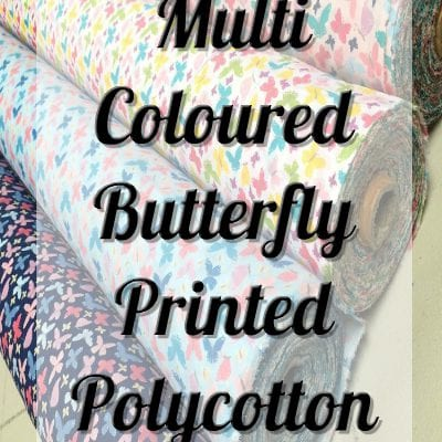 Multi Coloured Butterfly PolyCotton Fabric