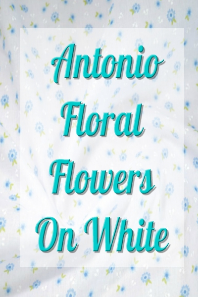 Polycotton fabric Antonio Floral Flowers Petals Leaves On White